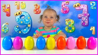 Kid Learning Numbers with Surprise eggs