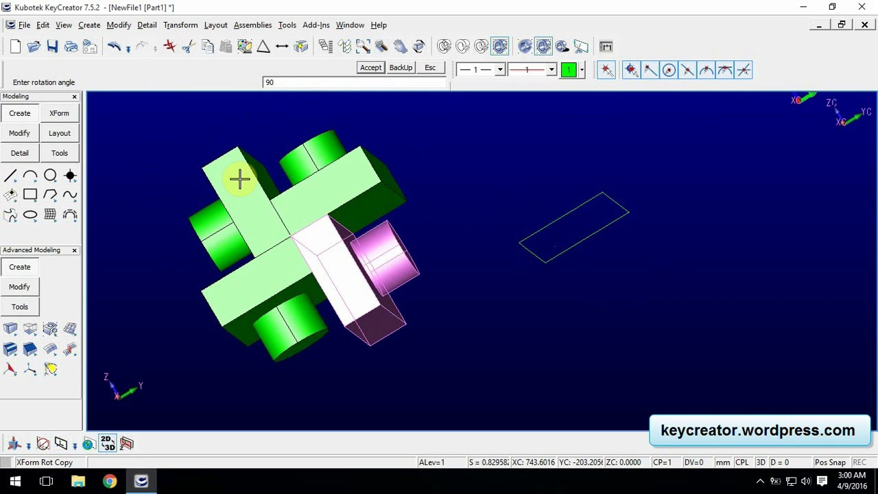 KeyCreator 7.5.2 how to use Old-New, Rotate and Mirror - YouTube on solidworks cad, vectorworks cad, nx cad,