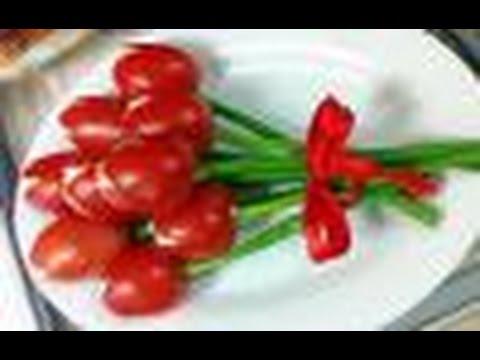 Как сделать тюльпаны из помидоров