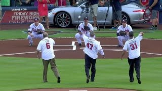 WSH@ATL: Glavine, Maddux, Cox throw out first pitch