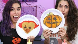 Halloween Pancake Art Challenge w/ Rachel