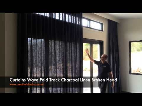 Creative Blinds and Awnings Curtains Wave Fold Track Charcoal Linen Broken Head