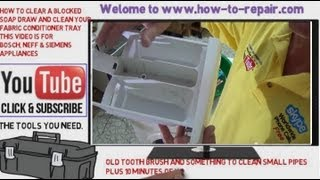 How to clear a blocked washing machine soap drawer and clean your Fabric conditioner tray(http://www.how-to-repair.com/ This video will show you how to keep your washing machine soap draw clear and how to service the parts and clean the fabric ..., 2013-07-30T12:30:03.000Z)