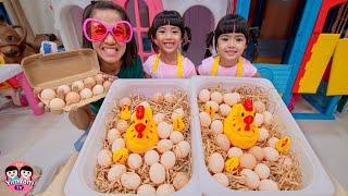 แม่ปุ๋ยชวนหนูยิ้มหนูแย้มเล่นเป็นแม่ค้าขายไข่