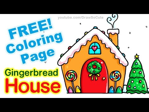 How to Draw a Gingerbread House step by step Easy , YouTube