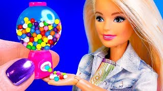 15 DIY MINIATURE FOOD FOR BARBIE ~ Gumball Machine, Nutella, Sweets AND MORE!