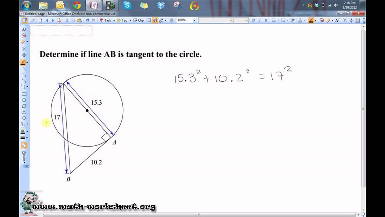 Circles Tangents Worksheets