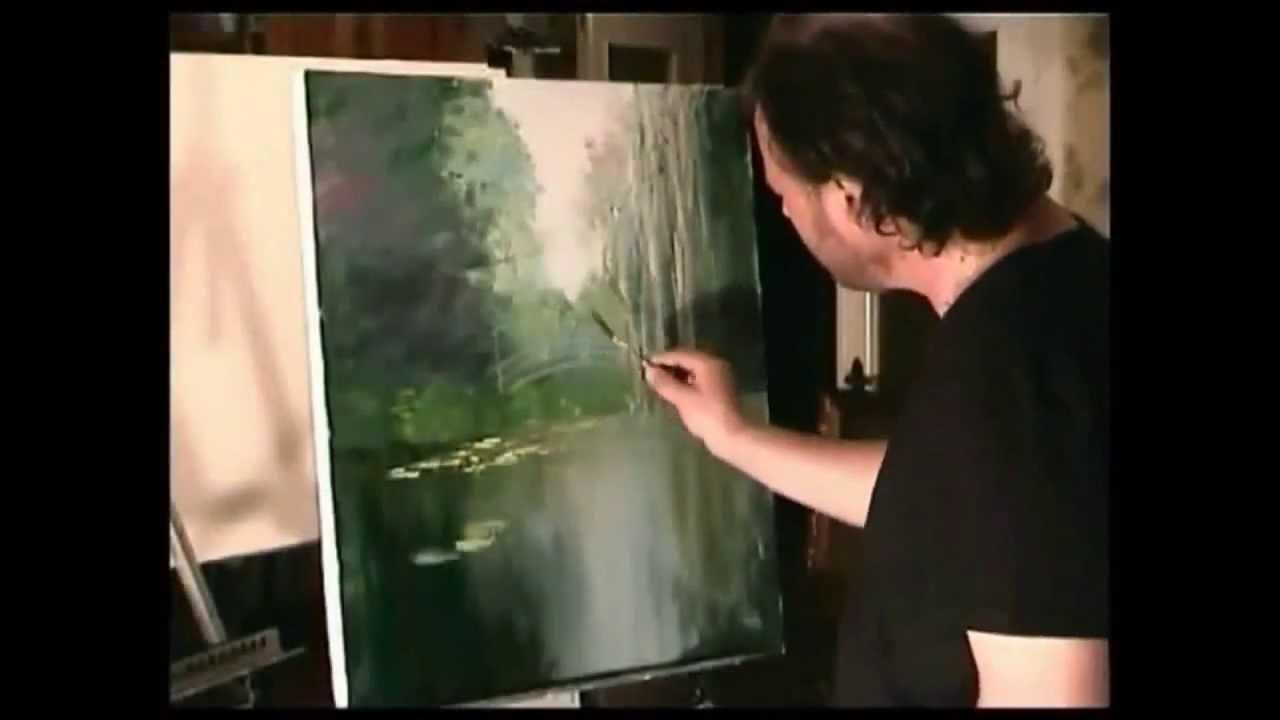 Artista ruso Igor Sajarov Bob Ross ensea a escribir