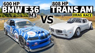 homepage tile video photo for Hand-built widebody 808hp TRANS AM vs Time Attack E36 M3  // This VS That