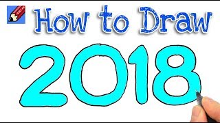 How to Draw 2018 in Bubble Writing Real Easy