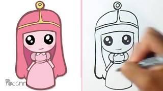 Hoe to draw Cute Princess-Bubblegum - Adventure time Kawaii