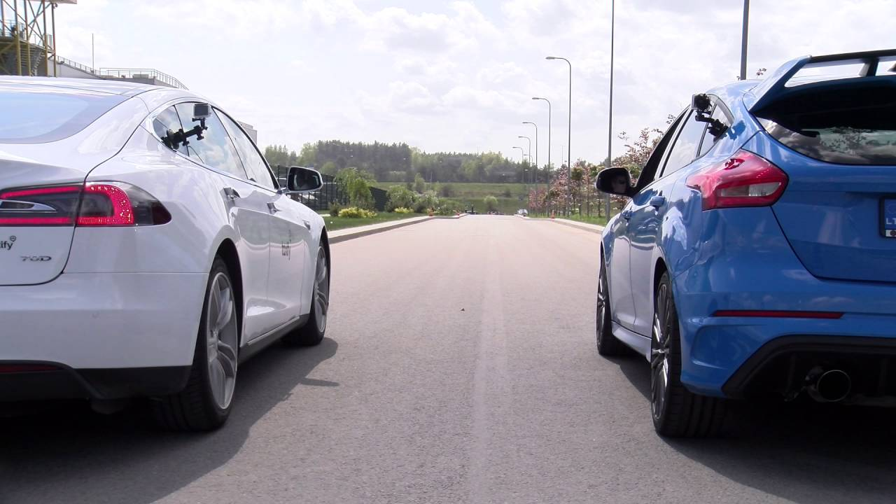 Ford Focus Rs Vs Sti >> Drag race: Tesla Model S 70D vs. Ford Focus RS - YouTube