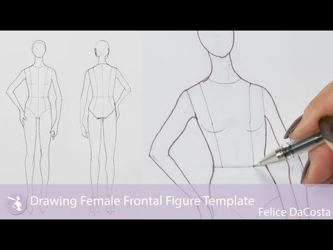 Drawing Female Frontal Figure Template - YouTube
