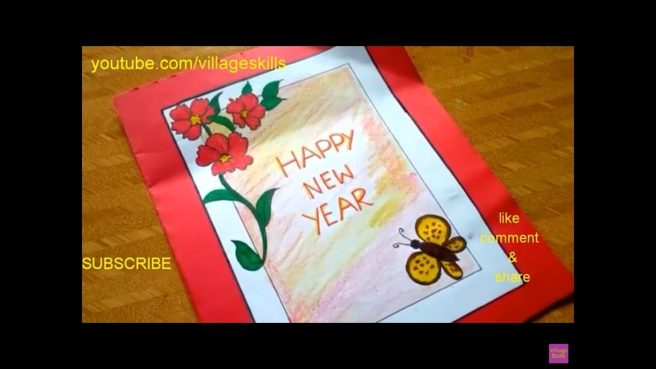 How to make handmade New Year Greeting card 2020 / DIY ...