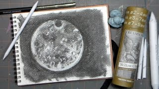How To Draw a Full Moon in Charcoal #lovefallart (harvest moon fast-draw!)