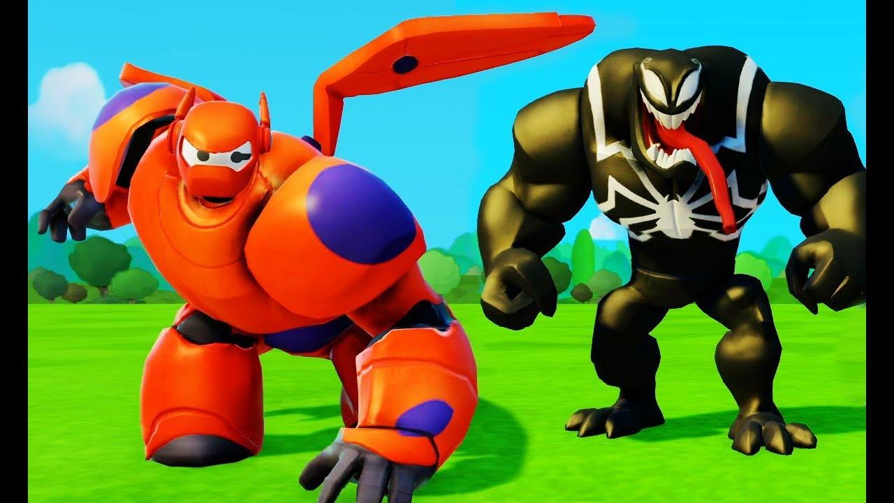 Macchine cartone animato gioco per bambini venom e baymax