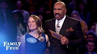 Tina and Lee go for the money! | Family Feud