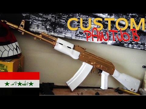 custom paint job airsoft joker ak white and gold cyma ak 74
