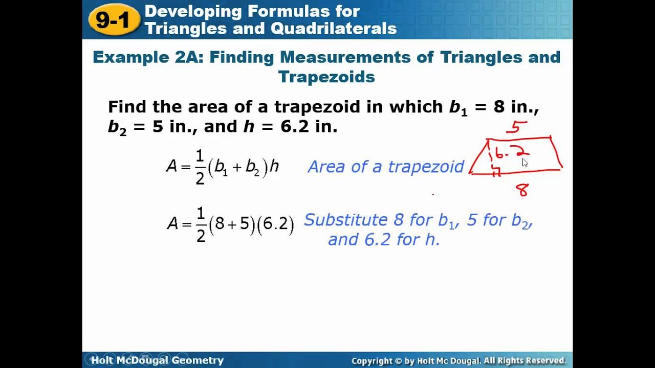 worksheet Area Of Triangles And Quadrilaterals Worksheet geometry 9 1 developing formulas for triangles and quadrilaterals lesson video