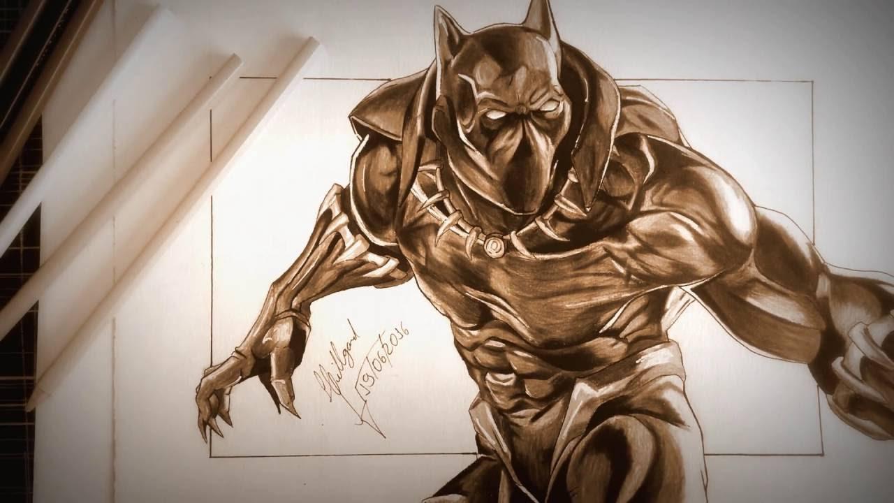 speed drawing pantera negra desenho youtube