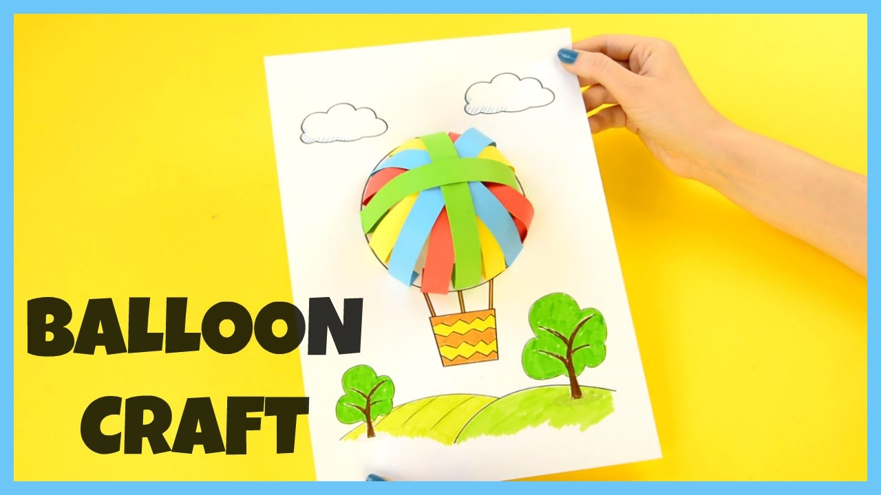 How to Make a 3D Paper Air Balloon - paper craft for kids - YouTube