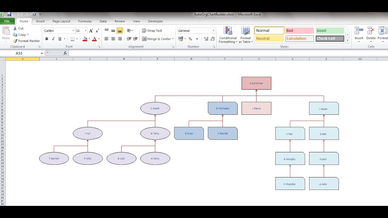 excel automatic org chart maker youtube