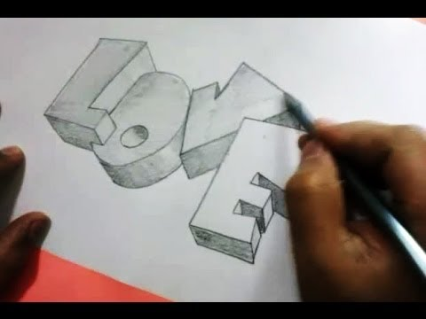How To Draw 3d Love In Graffiti Letters Youtube