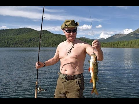 New holiday images of vladimir Putin in outdoor pursuits in Siberia, bare chest ,fishing
