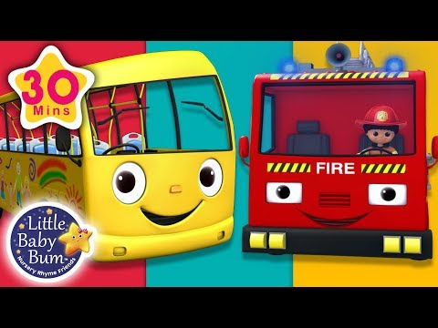 Wheels On The Bus and The Fire Truck  + More Nursery Rhymes & Kids Songs  Little Ba Bum