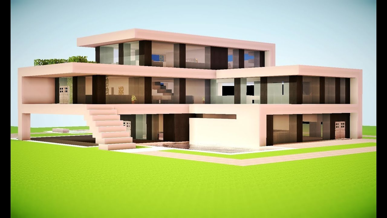 Minecraft how to build a modern house best modern house for Big modern houses on minecraft