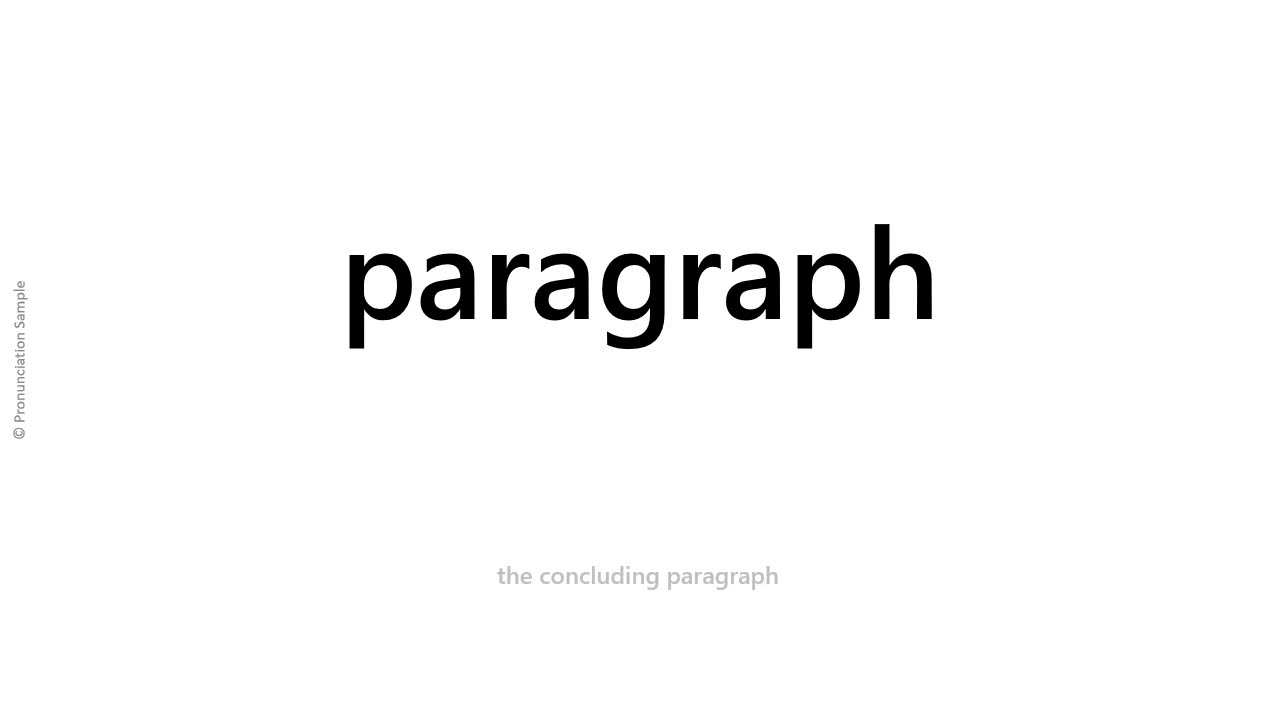 How to pronounce - paragraph - YouTube