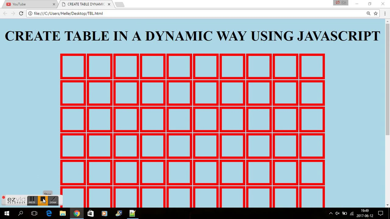 JAVASCRIPT CREATE A HTML TABLE IN A DYNAMIC WAY! YouTube