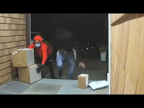 Suspects armed with guns were caught on camera stealing packages from Fairfield County homes.