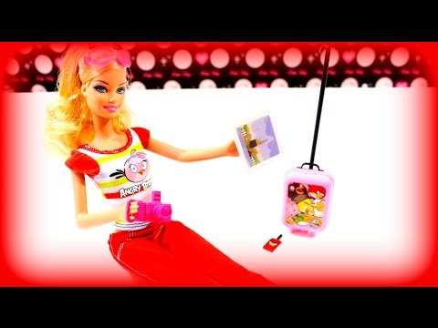 barbie puppe angry birds mit trolley handy tablet. Black Bedroom Furniture Sets. Home Design Ideas