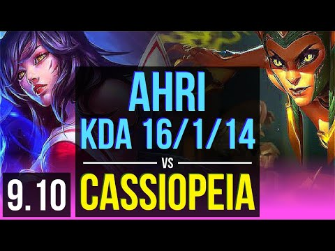 AHRI vs CASSIOPEIA (MID) | KDA 16/1/14, Legendary | EUW Diamond | v9.10