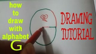 How to draw using alphabet G | drawing using alphabets | drawing tutorial