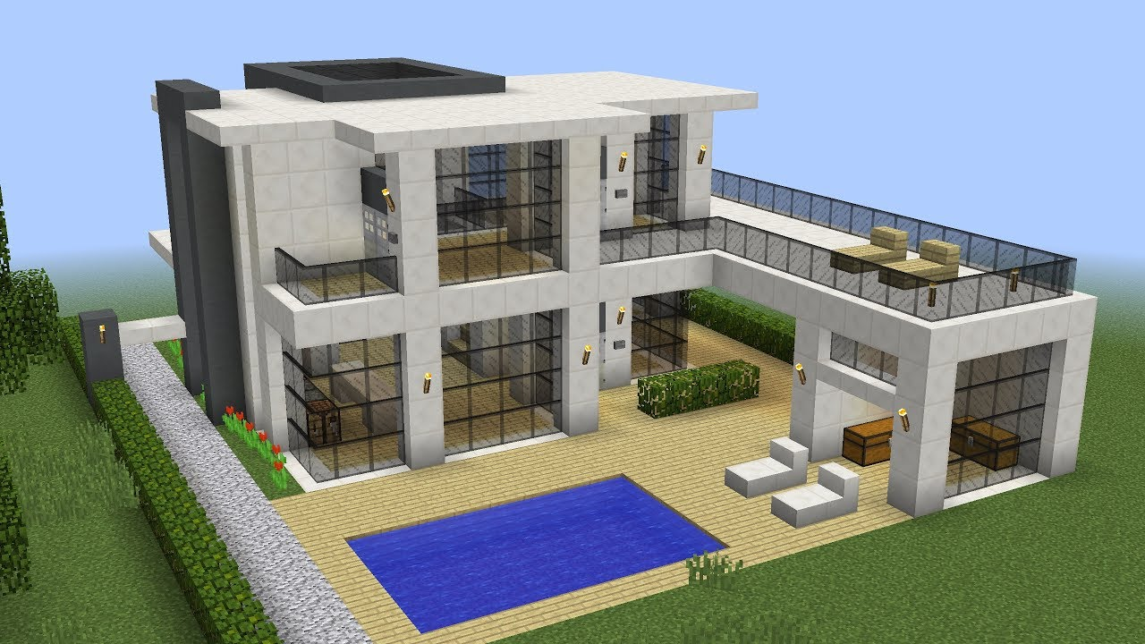 Minecraft how to build a modern house 13 youtube for How to build a modern home