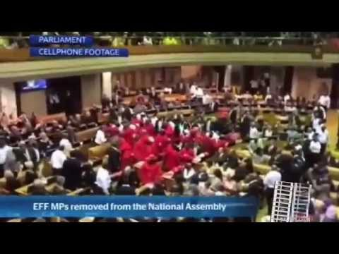 SA PARLIAMENT 2015 EFF kicked out Malema and Supporter injured