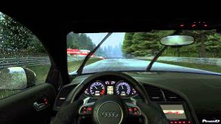 Project Cars Gameplay Driving on Nordschleife in The Rain with The Audi R8 V10 Plus by PowerD 2014