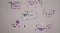 Reingehen, rausgehen, runtergehen, raufgehen, rübergehen. Дієслова з відокремлюваними префіксами.