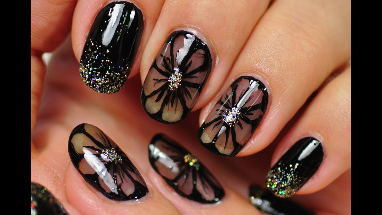 Nail art black nail design black flowers youtube prinsesfo Images