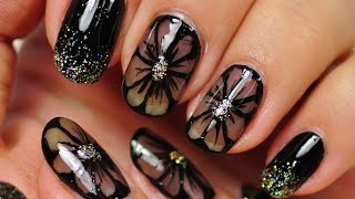 Nail Art. Black Nail Design. Black Flowers.