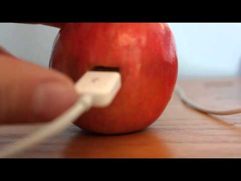 charging iphone with fruit How to charge your phone with apples by stringing 800 pieces of fruit and vegetables together with galvanized now your iphone will even weigh fruit.