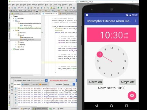 Android Alarm Clock Tutorial: Part 3, OnClickListener