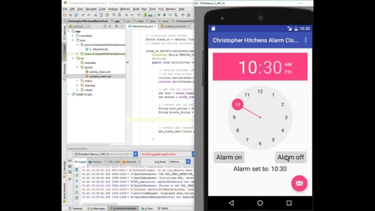 Android alarm clock tutorial: part 3, onClickListener