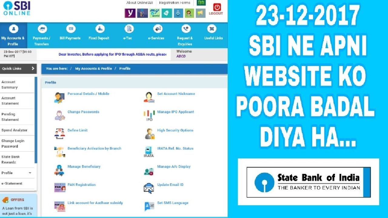 [Hindi] State Bank of India changed its website | sbi online website new interface | sbi net banking - YouTube