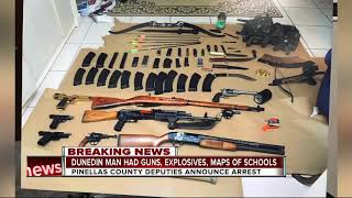 Dunedin man arrested after explosives,guns,school maps and more were found in his home