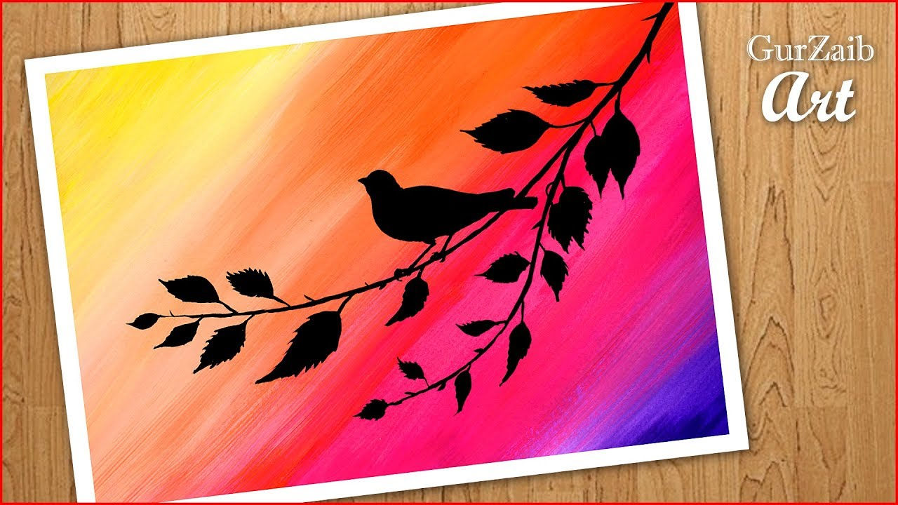 How To Paint Simple Painting Of Bird Sitting On Branch Poster Colors Step By Easy Drawing Youtube