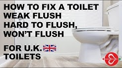 How to Fix a Toilet with a Weak Flush, Hard to Flush or Won't Flush - For U.K. Toilets