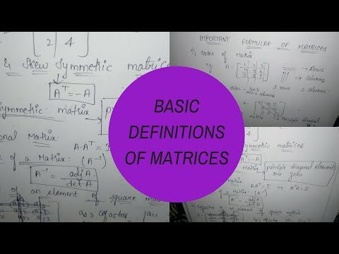 Matrices Important formula and basic concepts